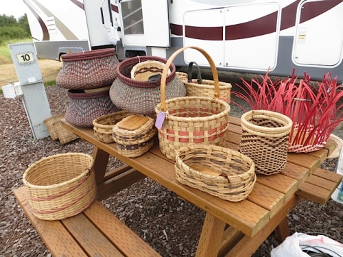 His baskets are selling well.