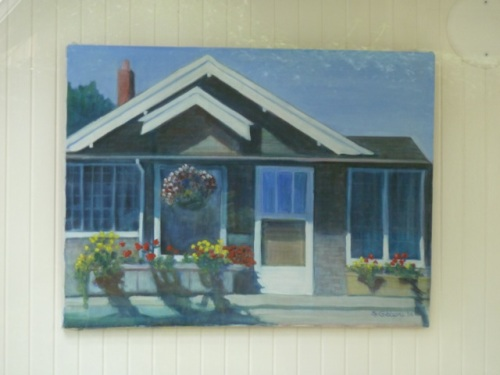 and closeup of a beautiful painting of the house.