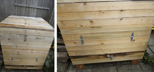 Gene's upcycled pallet composter and how it opens at the base