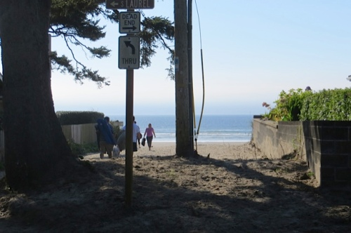 the beach, just steps from the Hutchins house