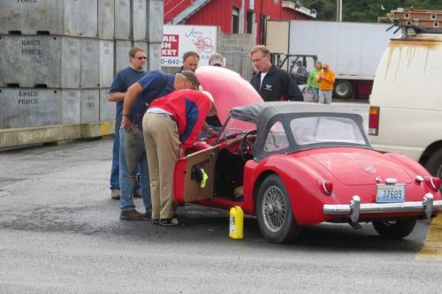 This little MG had broken down with a thermostat problem...