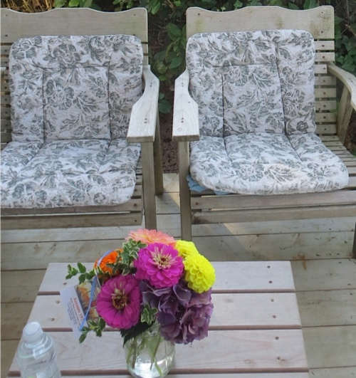 chairs on the west end of the porch