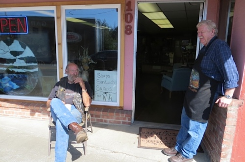 Captain Phil and Chester were shooting the breeze outside Olde Towne.