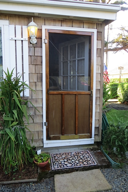 back door on east side of house