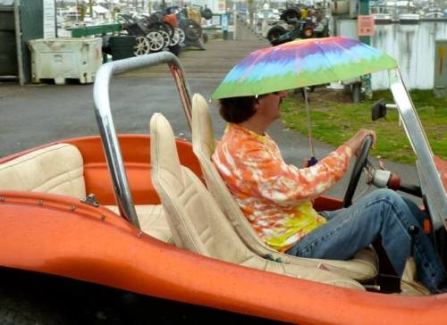dune buggy driver during a spot of drizzle