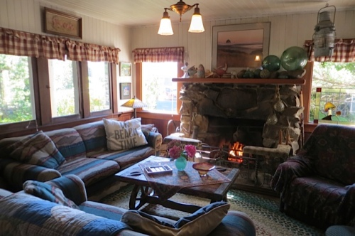 a rustic fireplace