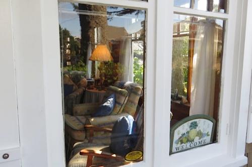 peeking in the window at the northwest corner