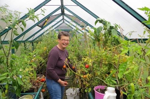 Judy in my greenhouse!