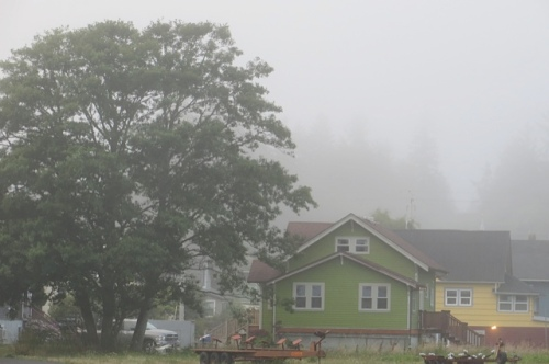 on the north side, a view of fog over School Hill