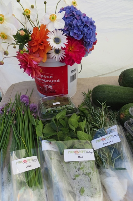 flowers and herbs from Pink Poppy Farm (at the Pink Poppy Bakery booth)