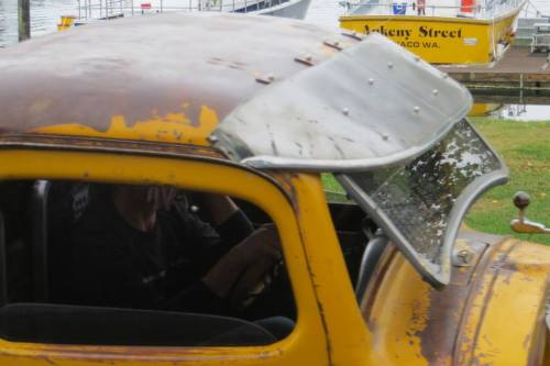 old fashioned opening windscreen...from before high speed freeways