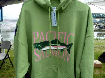Kelly's salmon design, shown at Saturday Market