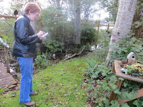 Dorothy photographing a fairy door