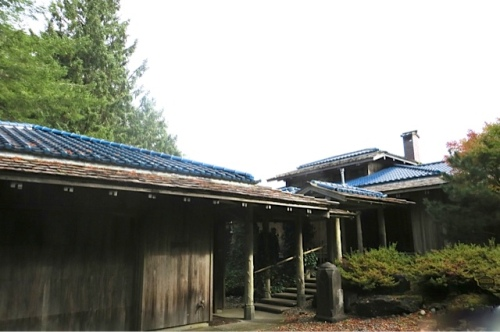 Again we see the glorious blue tile roofs...garage, walkway, house, guesthouse