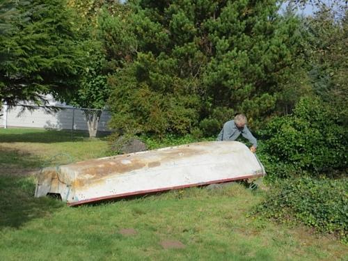 measuring a garden boat!