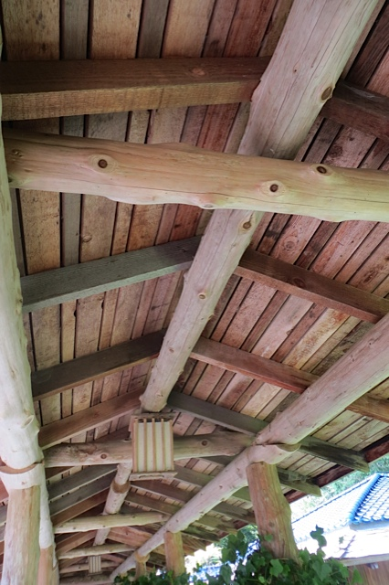 inside the roof of the walkway, carpenter craftsman Bill Clearman's artistry