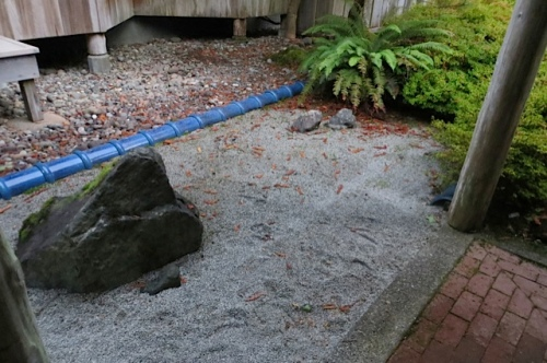 This zen garden by the front door used to be raked in patterns.