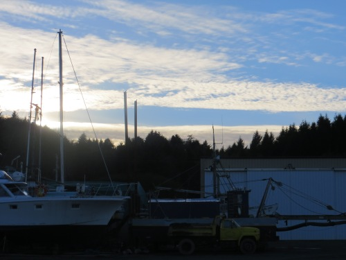 almost sunset over the boatyard