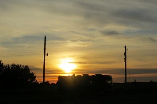 sunset over an RV