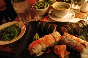 blurry but good:  miso soup, edamame beans, California and spice tuna rolls