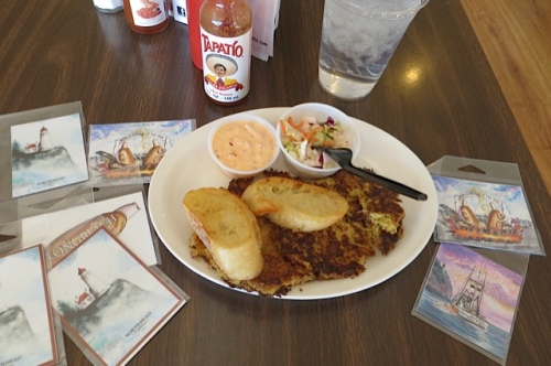 my delicious crab cake lunch and some purchases of Don's art magnets.