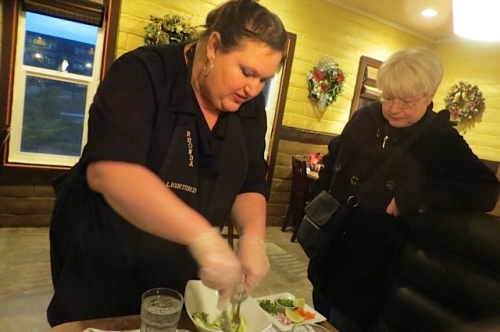 Kathleen arrives just in time to see the guacamole being made at tableside.