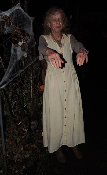 Luanne zombie walked into our garden.  Photo courtesy Jenna Lanette Austin.