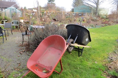 wheelbarrows at rest
