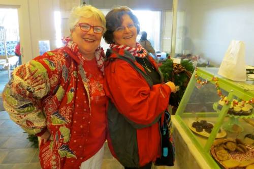 Charlene and Debbie, gardeners and readers of this blog, in holiday outfits