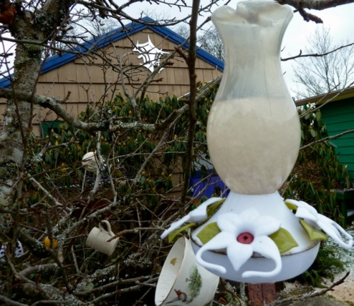 Allan had to thaw out the hummingbird feeder.