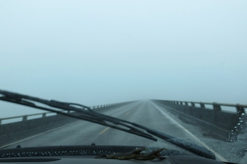 Fog on the 4.1 milebridge to Astoria hides the upper part of the bridge.