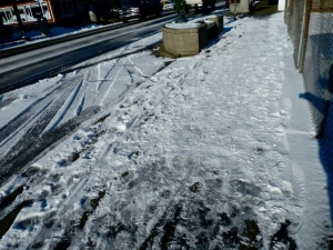the scary icy sidewalk areas he helped me avoid