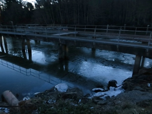 icy water at the boat lift