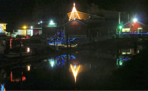 another lighted boat and the Jessie's star