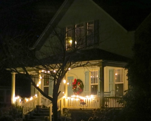 On the way home, we got a photo of the decorated porch at Larry and Robert's house, five doors down.