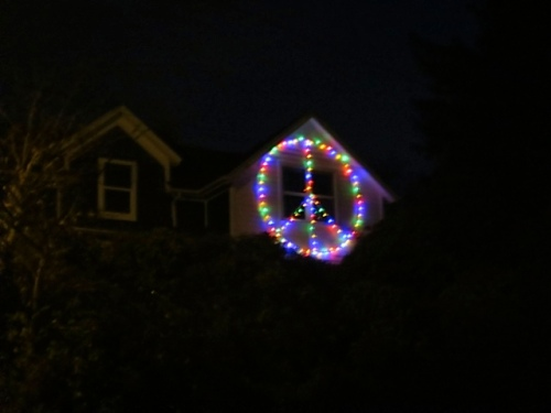 the peace sign on the Anderson house