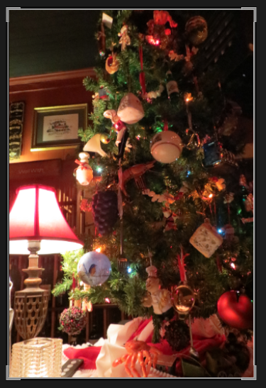 The Depot Christmas tree, decorated with food themed ornaments