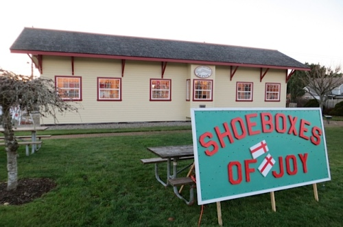 Shoeboxes of Joy in the old train depot