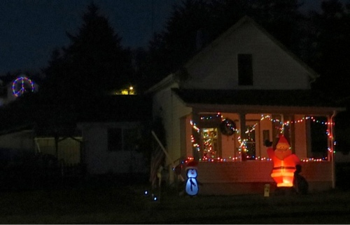 On Spruce Street, Santa had been accented by more lights.