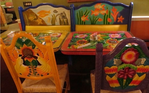 colourful chairs and tables