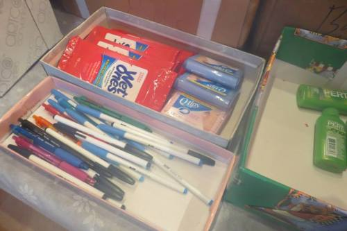 pens, small packs of Q tips or tissues