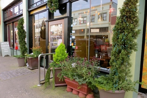 by Fulio's (delicious Italian restaurant), planters with greenery tucked in