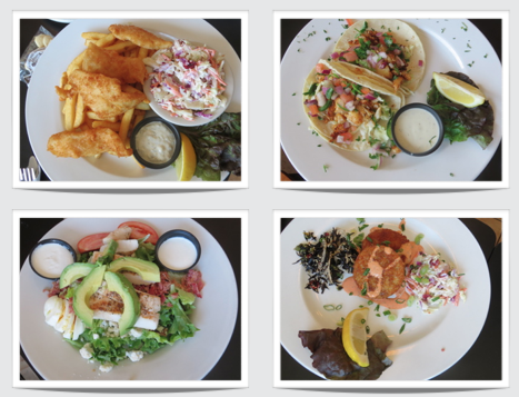 four tasty lunches (fish and chips, fish tacos, crab cakes, cobb salad