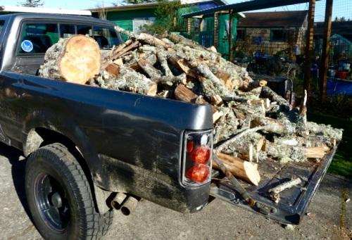 a truck full of wood