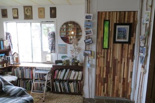 front door and garden bookshelves