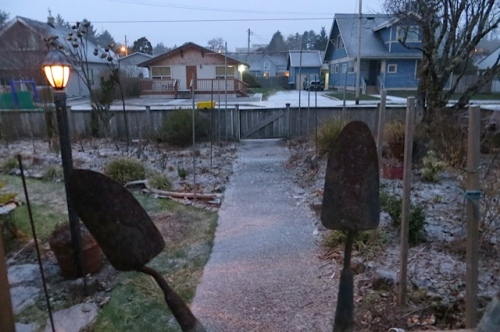 a thin coating of snow in the front garden