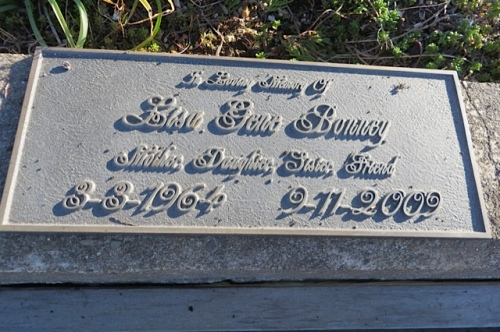 plaque on Lisa's memorial planter