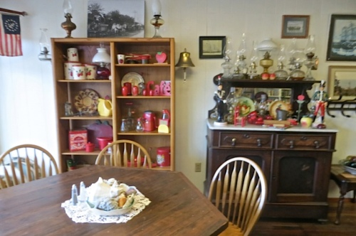 all the red vintage kitchen things gathered together