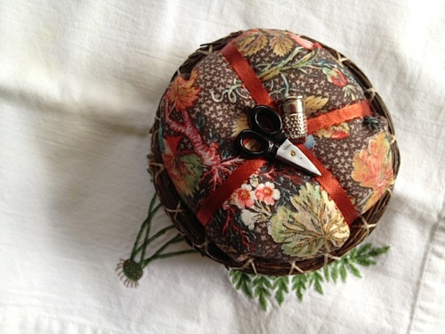 a pine needle pin cushion from cash mob at M&D Designs
