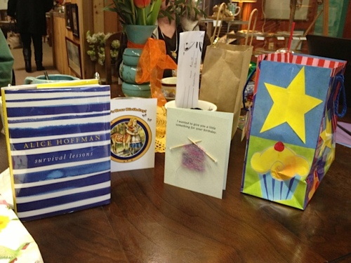 birthday book and cards